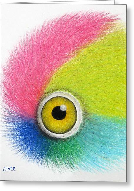 Macaw Art Print Greeting Cards - Parrot Eye Greeting Card by Oiyee  At Oystudio