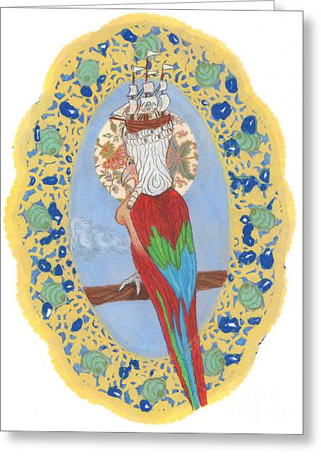 18th Century Mixed Media Greeting Cards - Parrot Girl Greeting Card by Juliana Brandon