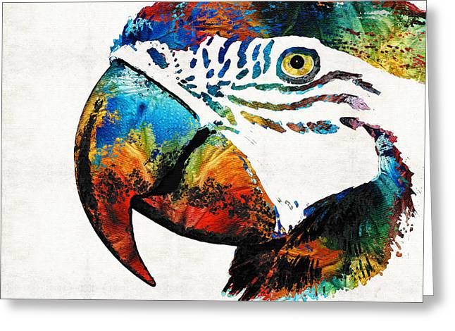 Tropical Bird Art Greeting Cards - Parrot Head Art By Sharon Cummings Greeting Card by Sharon Cummings