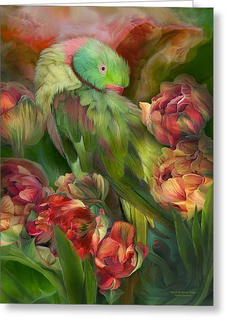 Tropical Bird Art Greeting Cards - Parrot In Parrot Tulips Greeting Card by Carol Cavalaris