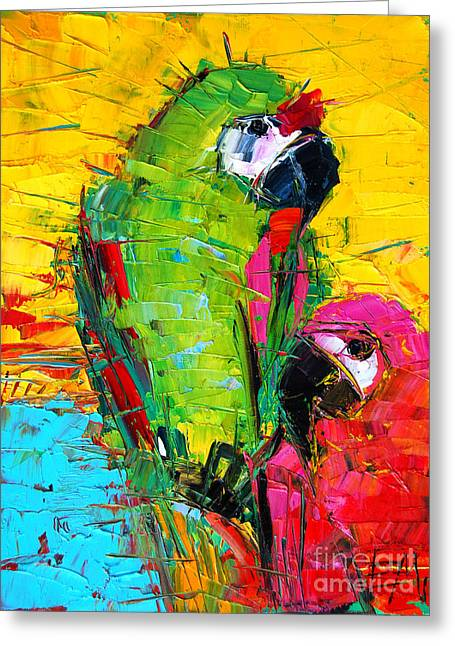 Red Claws Greeting Cards - Parrot Lovers Greeting Card by Mona Edulesco