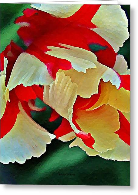 Patterned Marking Greeting Cards - Parrot Tulip in Oils  Greeting Card by Chris Berry