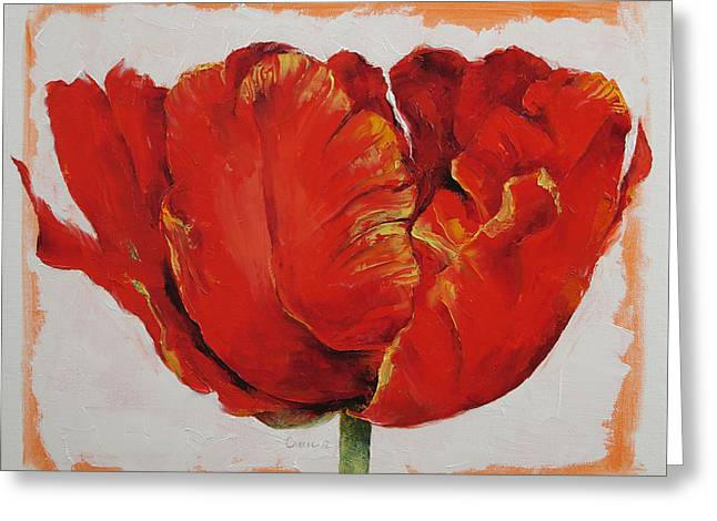 Parrot Art Print Greeting Cards - Parrot Tulip Greeting Card by Michael Creese