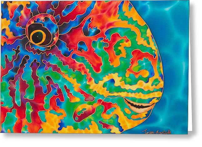 Hand Tapestries - Textiles Greeting Cards - Parrotfish Greeting Card by Daniel Jean-Baptiste