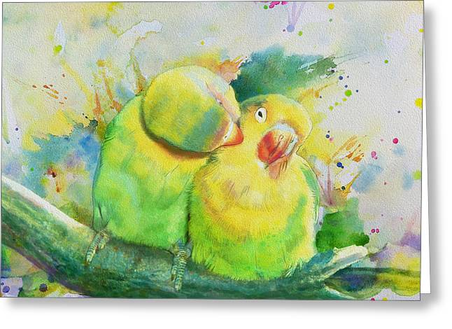 Owl Picture Greeting Cards - Parrots Greeting Card by Catf