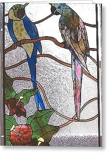 Tropical Stain Glass Glass Art Greeting Cards - ParrotsTalking Greeting Card by Nora Solomon