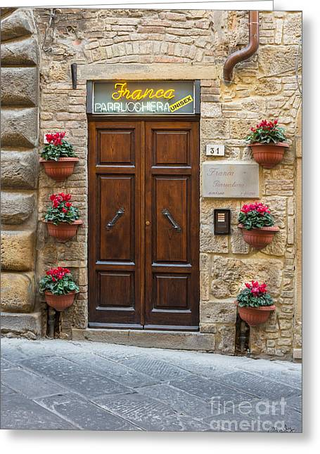 Store Fronts Greeting Cards - Parrucchiera Greeting Card by Prints of Italy