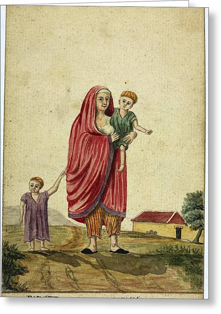 Parsee Woman And Child Greeting Card by British Library