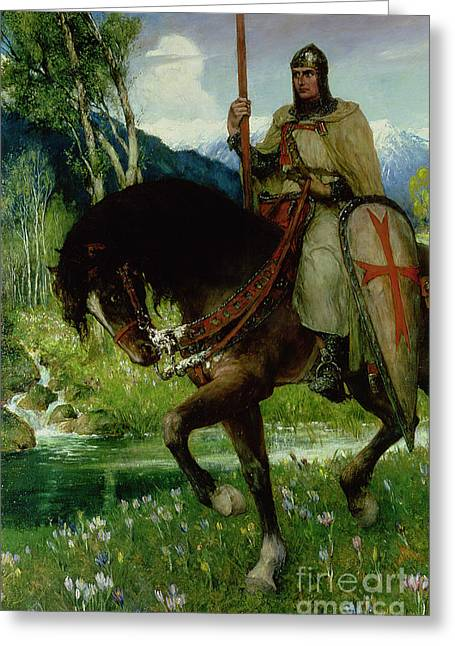 Grail Greeting Cards - Parsifal in Quest of the Holy Grail Greeting Card by Ferdinand Leeke