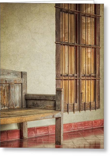 Glass Wall Greeting Cards - Part of a Bench Greeting Card by Joan Carroll