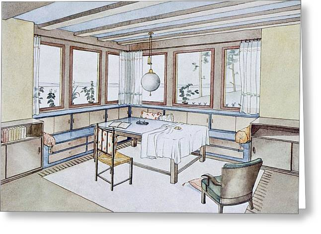 1920s Drawings Greeting Cards - Part Of A Living Room, From Modern Greeting Card by W. Schneider