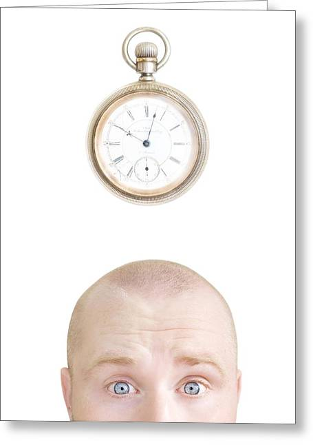 Wonderment Greeting Cards - Part Of A Mans Head And A Stop Watch Greeting Card by Chris and Kate Knorr