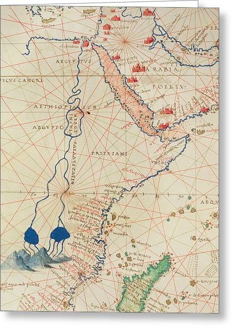 Rift Greeting Cards - Part Of Africa, From An Atlas Of The World In 33 Maps, Venice, 1st September 1553 Ink On Vellum Greeting Card by Battista Agnese