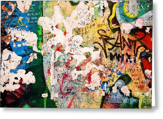Urban Images Greeting Cards - Part of Berlin Wall with graffiti Greeting Card by Michal Bednarek