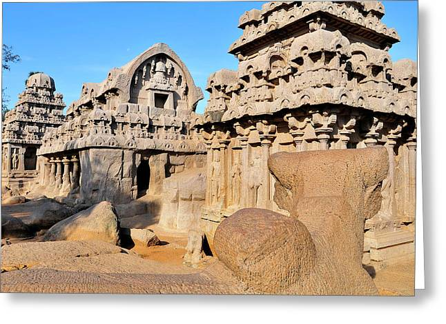 Part Of The Five Rathas Complex Greeting Card by Steve Roxbury