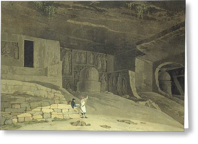 Caves Drawings Greeting Cards - Part Of The Kanaree Caves, Salsette Greeting Card by Thomas & William Daniell
