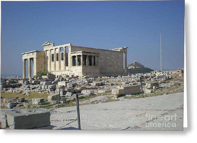 Temple Of Athena Greeting Cards - part of the temple of Athena Greeting Card by Sofia Panagiwtopoulou