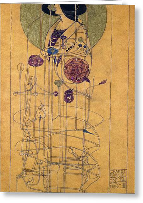 Disk Greeting Cards - Part Seen, Imagined Part, 1896 Greeting Card by Charles Rennie Mackintosh
