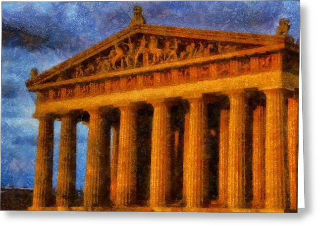 Tennessee Landmark Paintings Greeting Cards - Parthenon On A Stormy Day Greeting Card by Dan Sproul