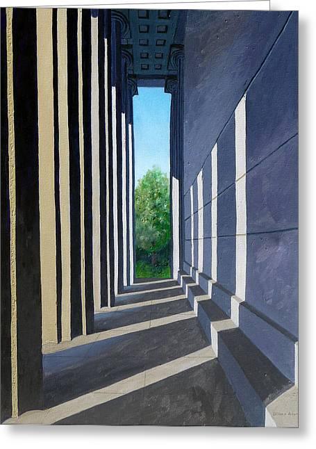Parthenon Shadows Greeting Card by Dillard Adams
