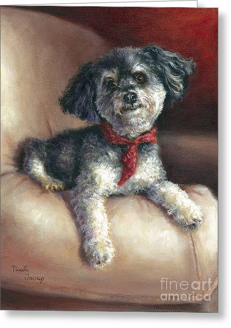 Portrait With Red Chair Greeting Cards - Parti Poodle Greeting Card by Nicole Troup