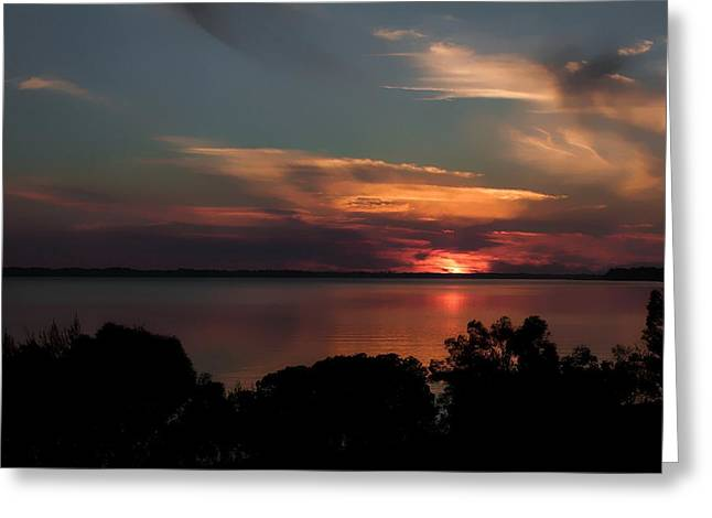 Panama City Beach Greeting Cards - Partial Eclipse Sunset Greeting Card by Debra Forand