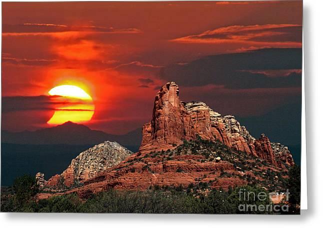 Astronomy Greeting Cards - Partial Solar Eclipse Sedona-Arizona Greeting Card by Babak Tafreshi