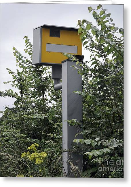 Partially Hidden Speed Camera Greeting Card by Robert Brook
