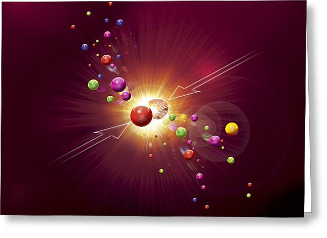 Cern Greeting Cards - Particle Collision, Artwork Greeting Card by Claus Lunau