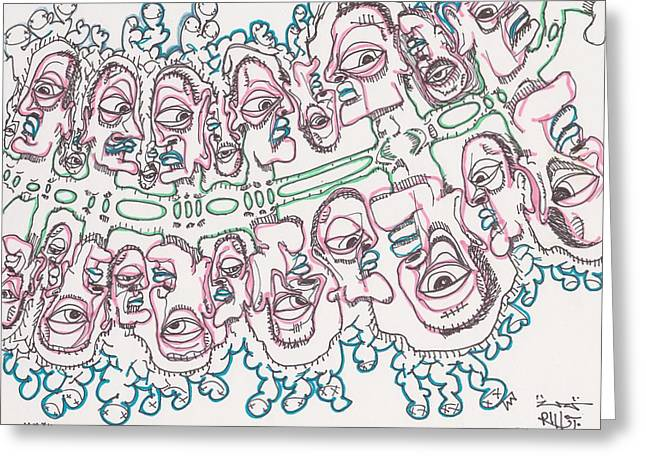 Formation Drawings Greeting Cards - Particle People Greeting Card by Robert Wolverton Jr
