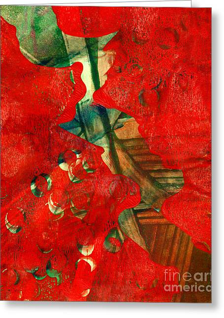 Printmaking Greeting Cards - Parting of the Red Sea Abstract  Greeting Card by Laura L Leatherwood