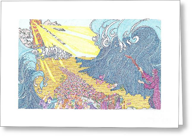Art Product Drawings Greeting Cards - Parting of the Red Sea Greeting Card by Ellen Braun