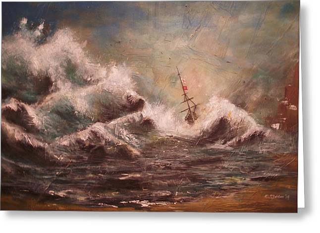 """""""storm Prints"""" Paintings Greeting Cards - Parting the waves Greeting Card by David Iddon"""