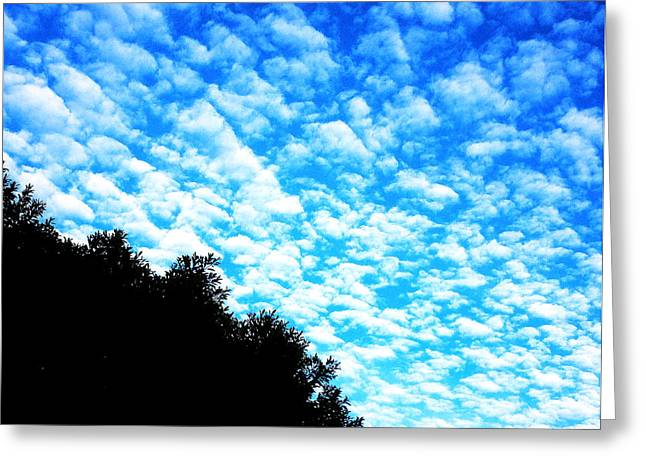 Outside Tapestries - Textiles Greeting Cards - Partly Cloudy Greeting Card by John Castell
