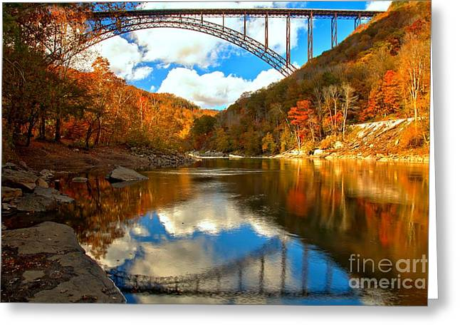 Famous Bridge Greeting Cards - Partly Cloudy Over The New River Greeting Card by Adam Jewell