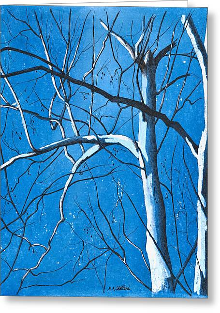 Bare Trees Drawings Greeting Cards - Partners Greeting Card by MaryAnn Stafford