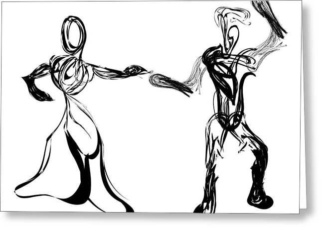 Pen And Ink Drawing Digital Art Greeting Cards - Partners Greeting Card by Michael Lee