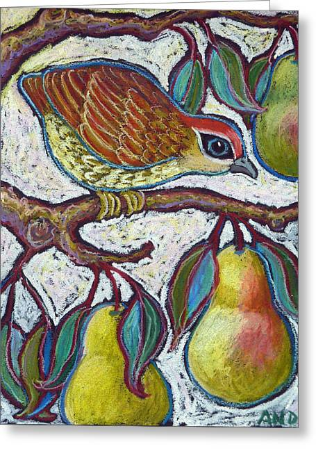 Partridge In A Pear Tree 3 Greeting Card by Ande Hall