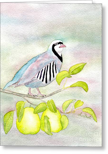12 Days Of Christmas Greeting Cards - Partridge in a Pear Tree Greeting Card by Laurel Best