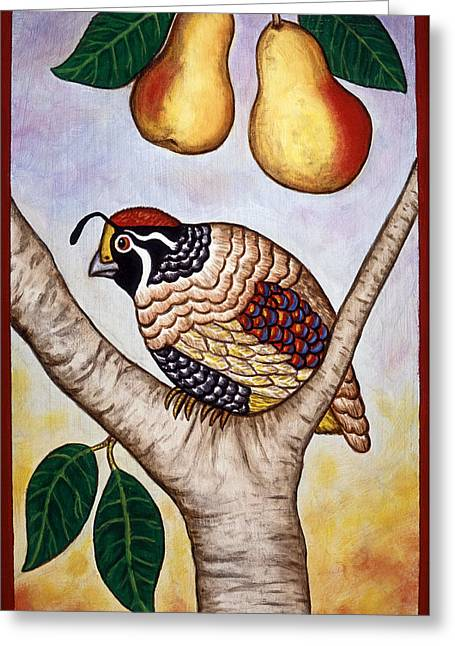 Christmas Greeting Cards - Partridge in a Pear Tree Greeting Card by Linda Mears
