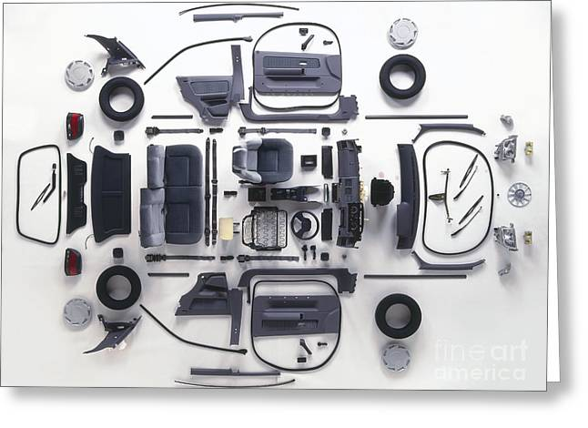 Disassembled Greeting Cards - Parts Of A Modern Car Greeting Card by Dave Rudkin / Dorling Kindersley