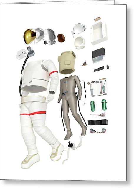 Parts Of A Spacesuit Disassembled Greeting Card by Dorling Kindersley/uig