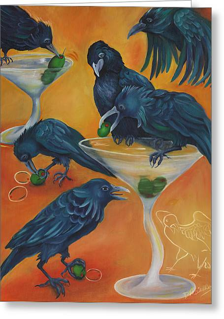 Crow Art Greeting Cards - PARTY ANIMALS - Murder Of Crows Greeting Card by Debbie McCulley