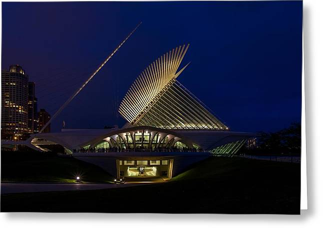 Contemporary Night Scape Greeting Cards - Party at the MAM Greeting Card by Chuck De La Rosa