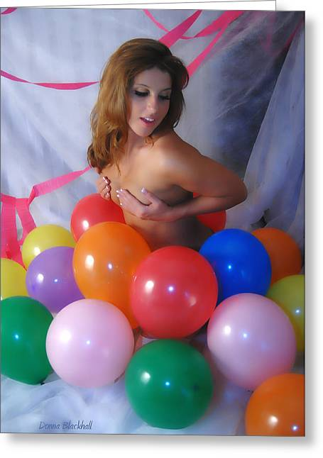 Streamer Greeting Cards - Party Balloon Greeting Card by Donna Blackhall