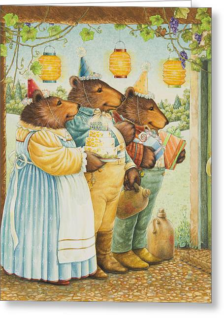 Party Hat Greeting Cards - Party Bears Greeting Card by Lynn Bywaters