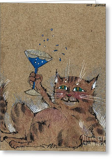 Cat Drawings Greeting Cards - Party Cat Greeting Card by Angel  Tarantella
