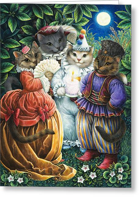 Dressed Up Greeting Cards - Party Cats Greeting Card by Lynn Bywaters