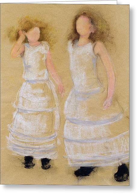 Dancing Girl Greeting Cards - Party Dresses, 2004 Pastel With Charcoal And Pencil On Paper Greeting Card by Susan Adams