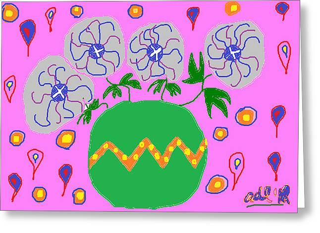 Vase Of Flowers Drawings Greeting Cards - Party Flowers Greeting Card by Anita Dale Livaditis